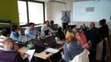 Routenzug-Workshop LeanObjects GmbH mit Geschäftsführer Toni H. Almert (Bildmitte stehend)