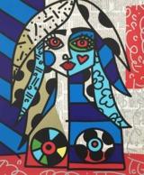 """Britto-Gemälde """"Alina"""" aus seiner Vintage-Reihe"""