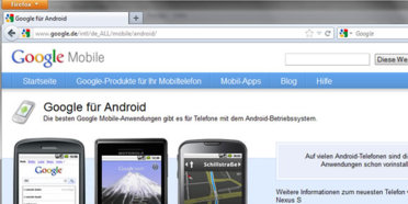 Der Erhebung zufolge laufen mittlerweile knapp 10 Millionen Smartphones in Deutschland auf Googles Android-Plattform. (Screenshot-Ausschnitt: Google Android-Website)